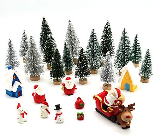 Oferta amazon: ECHOAN 27 Piezas Adornos Navideños Kits, Adornos en Miniatura de DIY Navidad,Nieve Reno Adorno,Papá NOE,Navidad Árbol decoración de casa