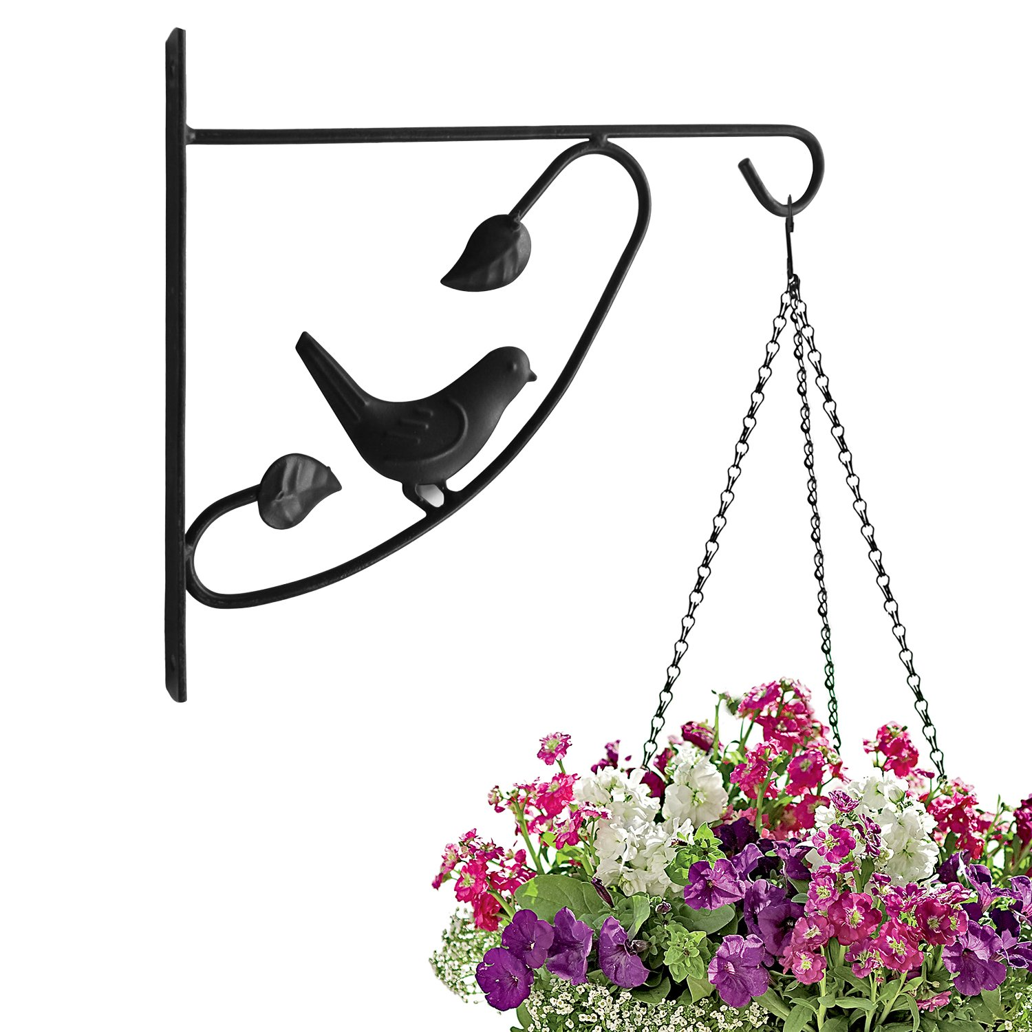Amagabeli 12'' hanging plant hooks forged mount against door fence deck garage balcony outdoor lawn cast iron bracket for planters bird feeder lanterns wind chimes plant pot basket with screw