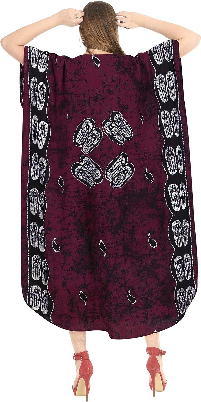 LA LEELA Boho Cotton Women Hand Batik Tunic Caftan Kimono Oversized Long Maxi Loungewear Holiday Nightwear Everyday Beach Cover UP Plus Size Kaftan IB