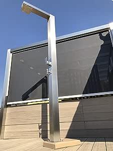 Modelo A1 Ducha Solar, Acero Inoxidable Cepillado, 20 litros ducha de jardín, ducha de piscina, ducha exterior: Amazon.es: Jardín