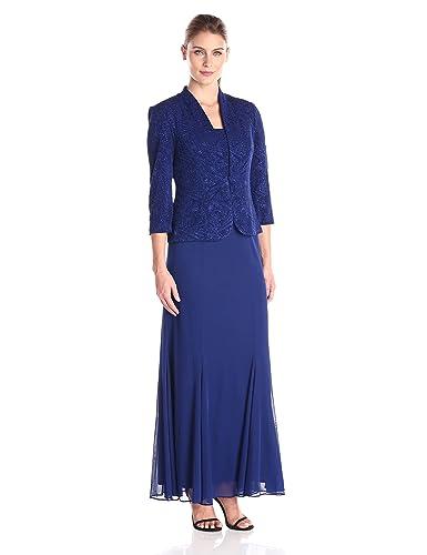 Alex Evenings Women's Long Jacket Gown with Chiffon Skirt