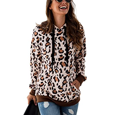 Angashion Women's Hoodies - Fuzzy Faux Fleece Leopard Printed Hooded Pullover Sweatshirt Coat Winter Sherpa Outerwear Pockets at Women's Clothing store