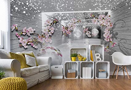 snow flowers and silver spheres photo wallpaper wall mural