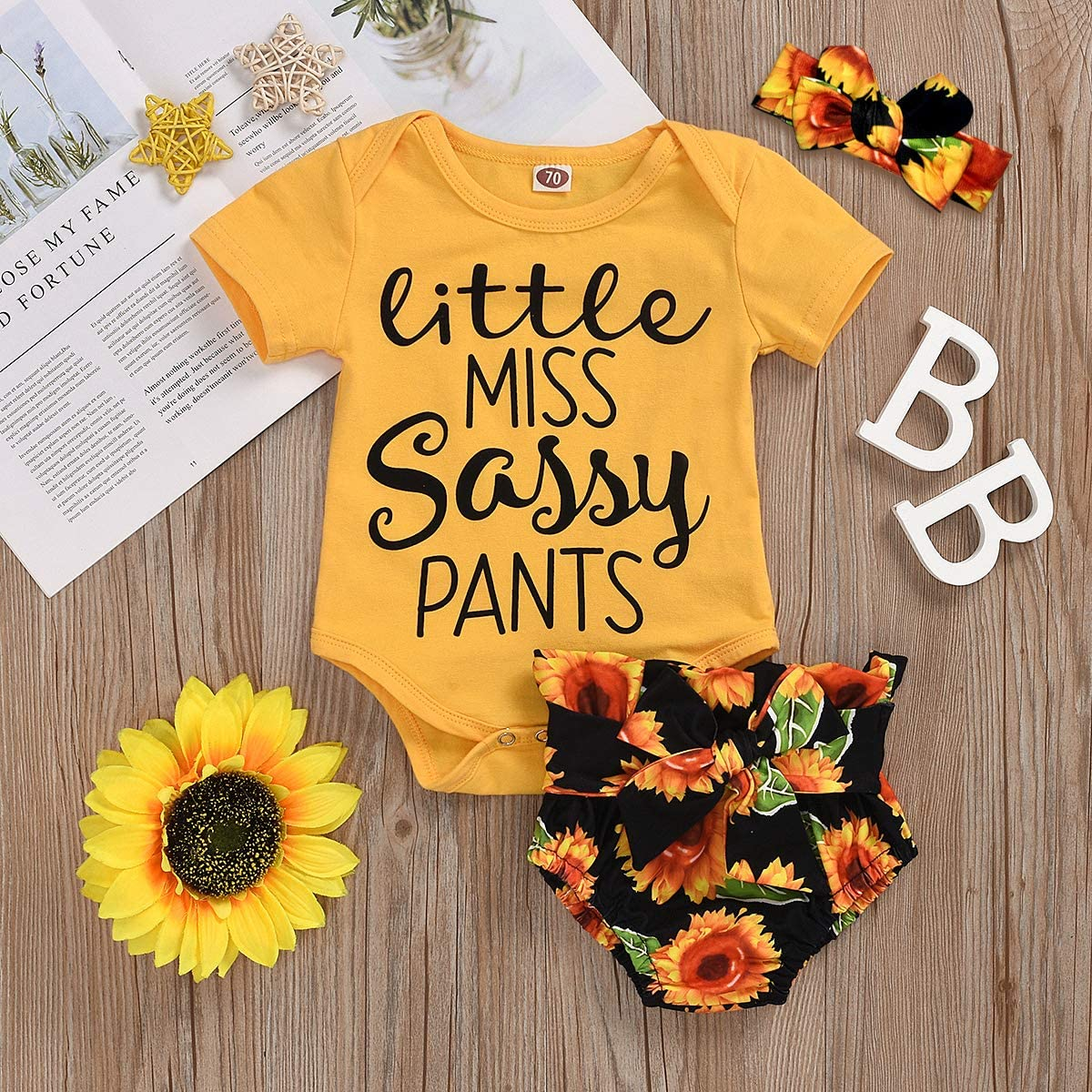 Newborn Baby Girl Clothes Sunflower Wild Ox Romper Floral Pants with Headband 3Pcs Summer Outfit Set 0-18Months