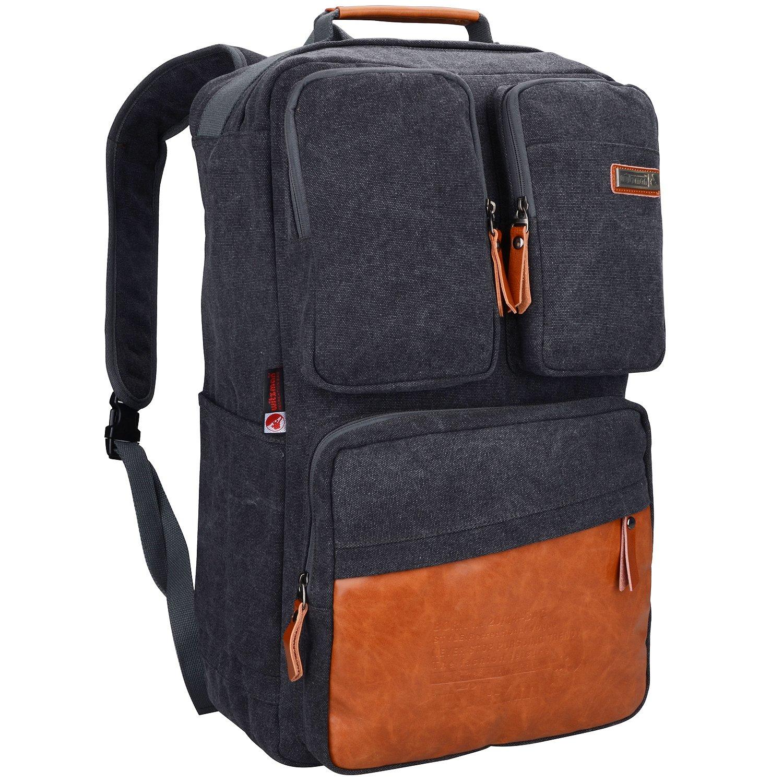 WITZMANヴィンテージラージキャンバスバックパック旅行リュックサックウィークエンドハイキングオーバーナイトバッグ(6617、23インチキャンバスブラック)   B0752GC3S2