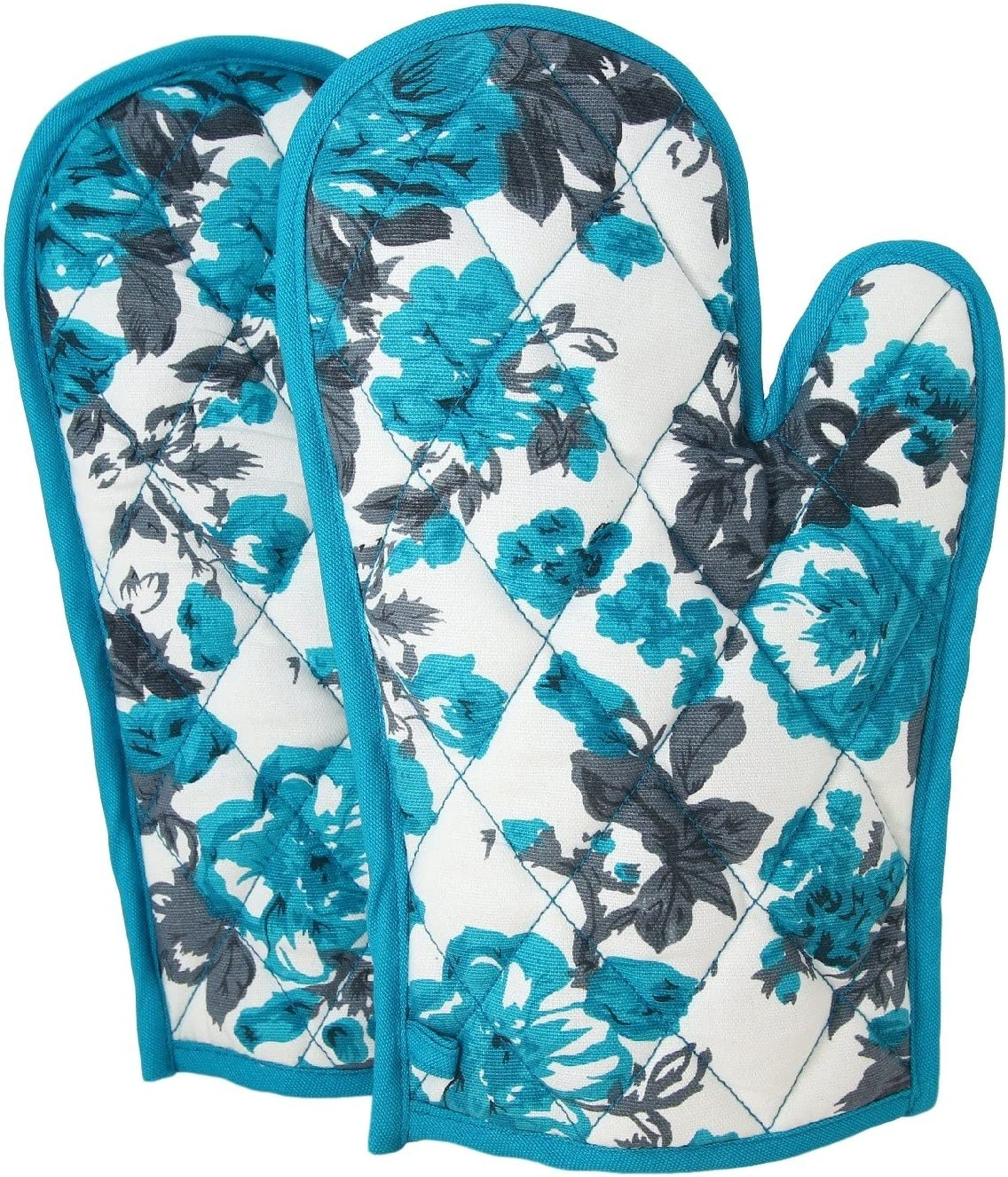 Shalinindia Cotton Oven Mitts and Pot Holders OG02-2711 Aqua Quilted Cotton Oven Gloves 8 x 12 Inch Cooking Gloves Oven
