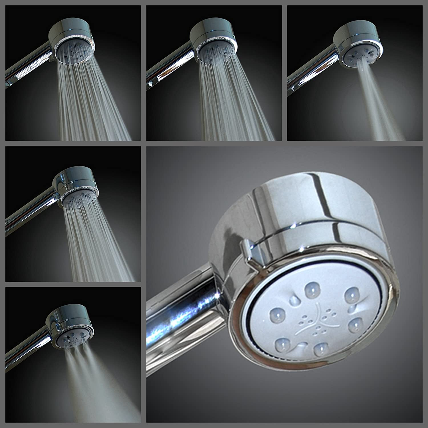 WantBa High Pressure Chrome 5 Setting Massage Spa Shower Head ...
