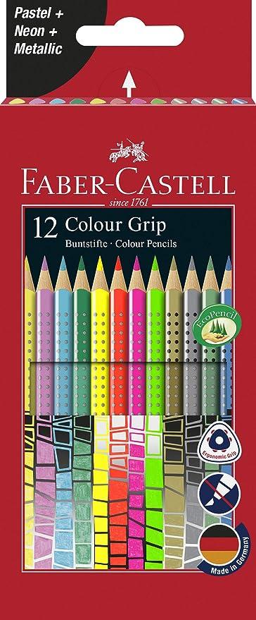 Faber-Castell 201569 - Estuche de cartón con 12 lápices Grip, Rojo: Amazon.es: Oficina y papelería