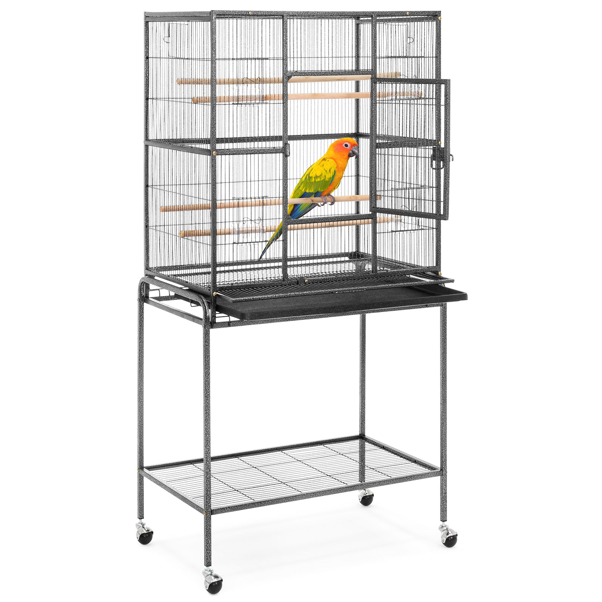 Best Choice Products 53in Portable Iron Pet Parrot Bird Cage w/Rolling Stand, 2 Wooden Perches, 4 Feeding Bowls & Doors by Best Choice Products