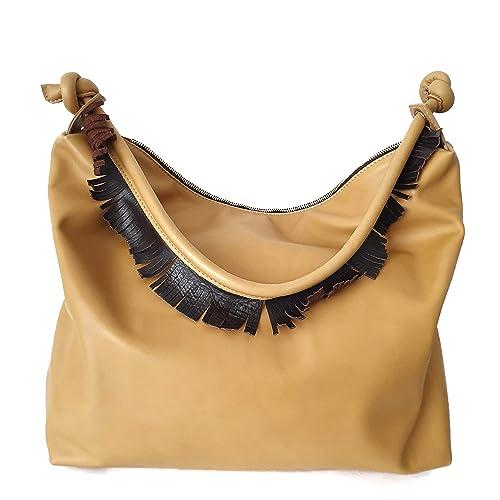 Borsa donna pelle a spalla gialla: Amazon.it: Handmade