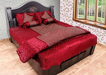 Rajasthan Crafts Silk Bedsheet Bedding Sets with 2 Pillow Cover & 2 Filled Cushion + 2 Bolsters + 1 AC Comforter (Red_King)