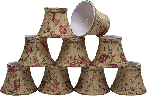 30005-9 Small Bell Shape Chandelier Clip-On Lamp Shade Set 9 Pack , Transitional Design in Floral Print, 5 Bottom Width 3 x 5 x 4