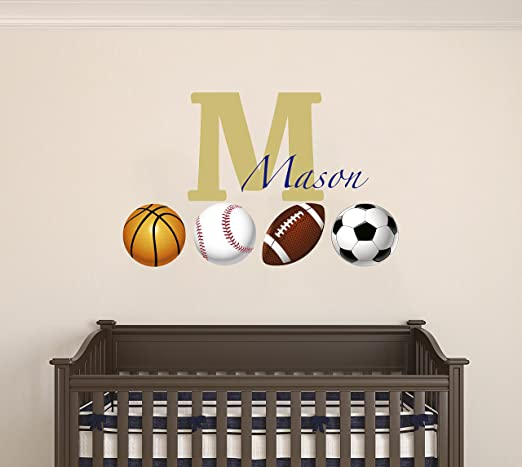 Customize name with Soccer ball; Basketball; Football Removable wall sticker