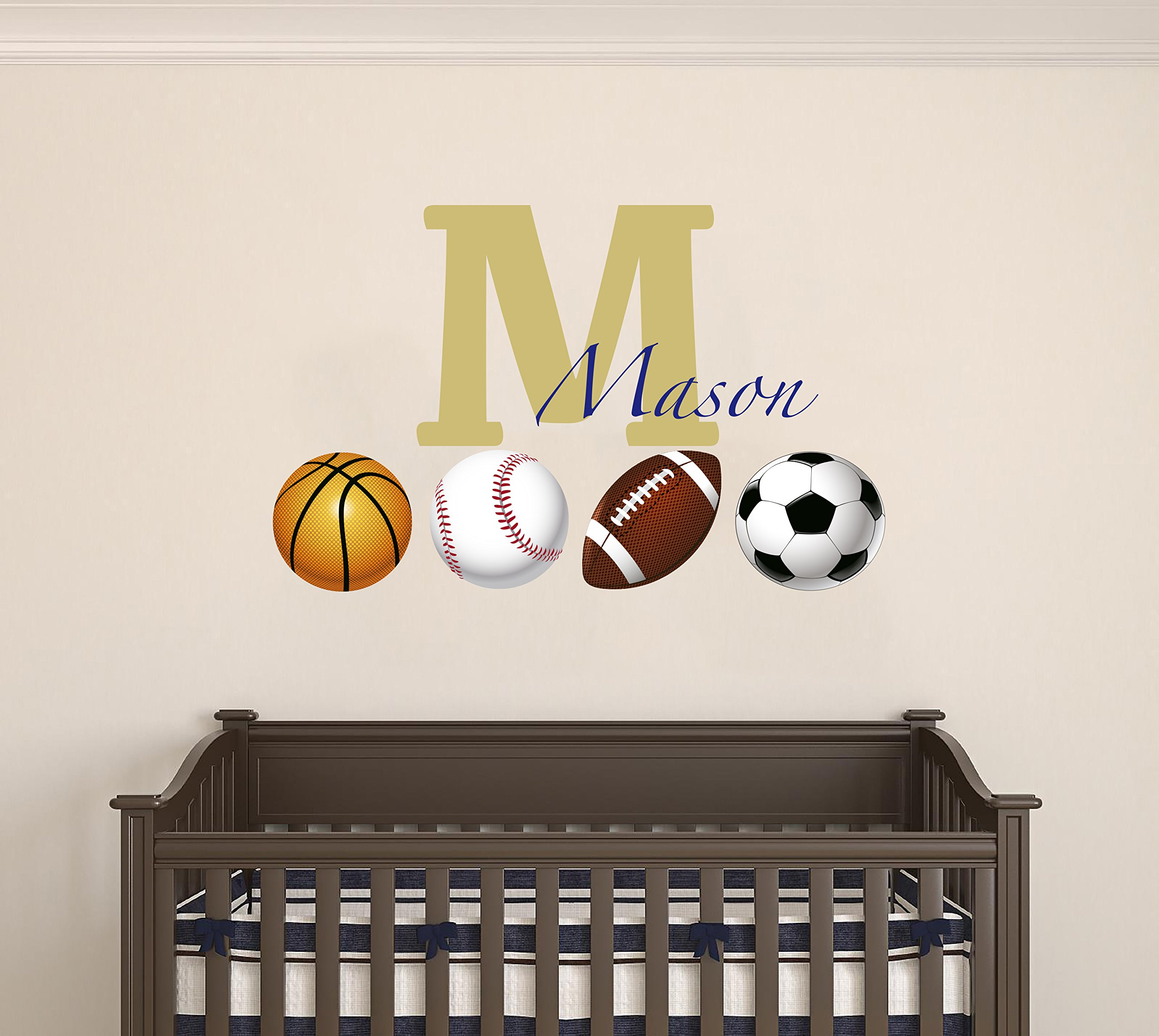 Customized name with Sports balls design - soccer baseball basketball football - Wall Decal For Home Nursery Decoration (Wide 40''x26'' Height Inches)