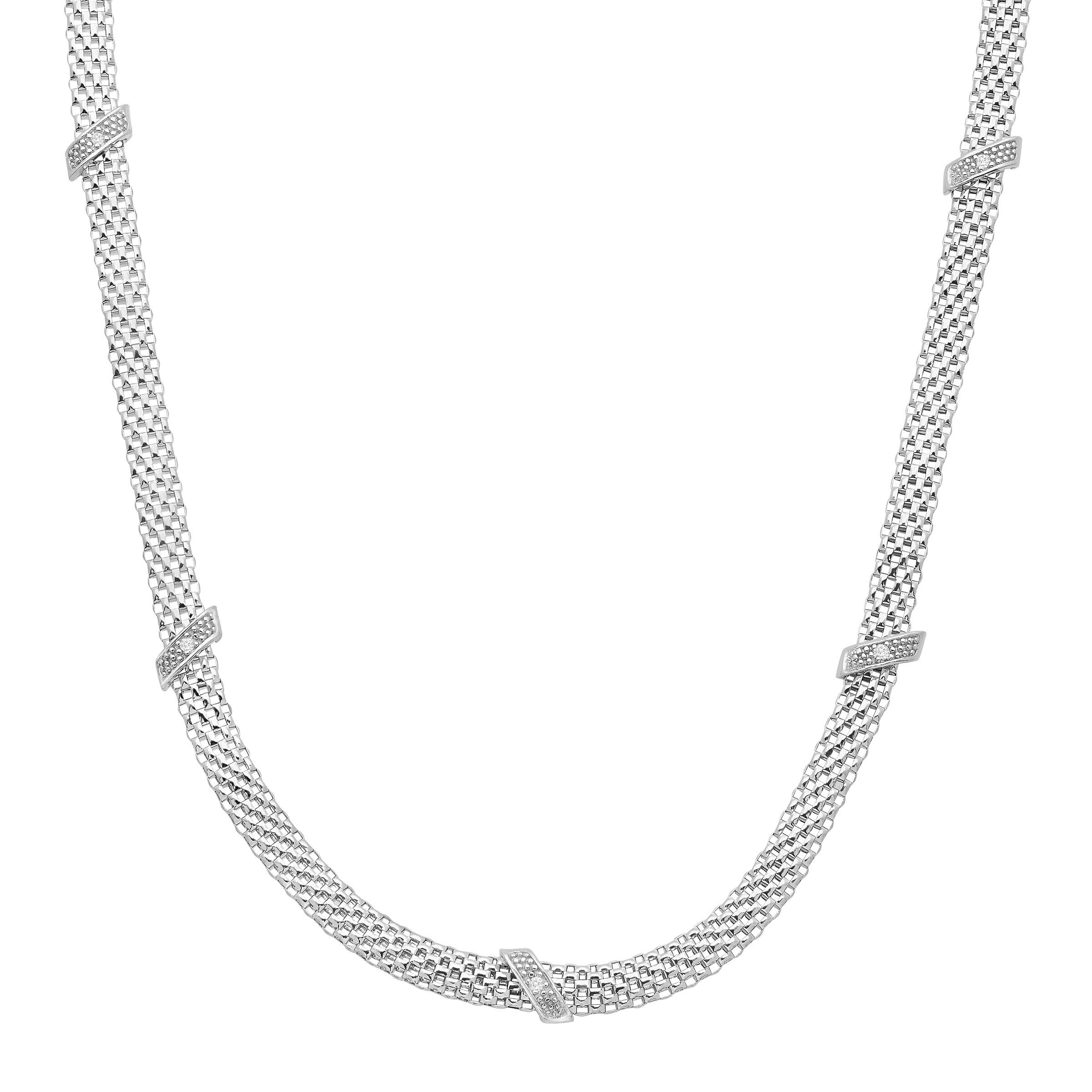 Mesh Cage Necklace with Diamonds in Sterling Silver by Finecraft