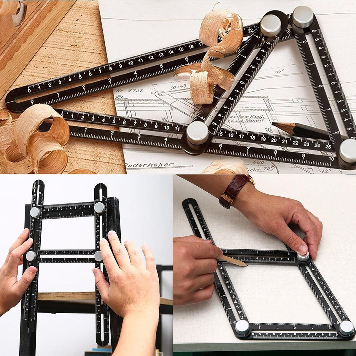 Black Precise Angleizer Template Tool paving cutting Premium Aluminum Alloy Easy Angle Ruler carpentry tiling slating and more Multi angle measuring ruler for DIY projects flooring