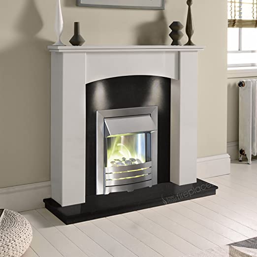 Enjoyable White Marble Stone Curved Modern Wall Surround Black Granite Electric Fireplace Suite Brushed Silver Electric Fire Pebble Glow Downlights Interior Design Ideas Inamawefileorg
