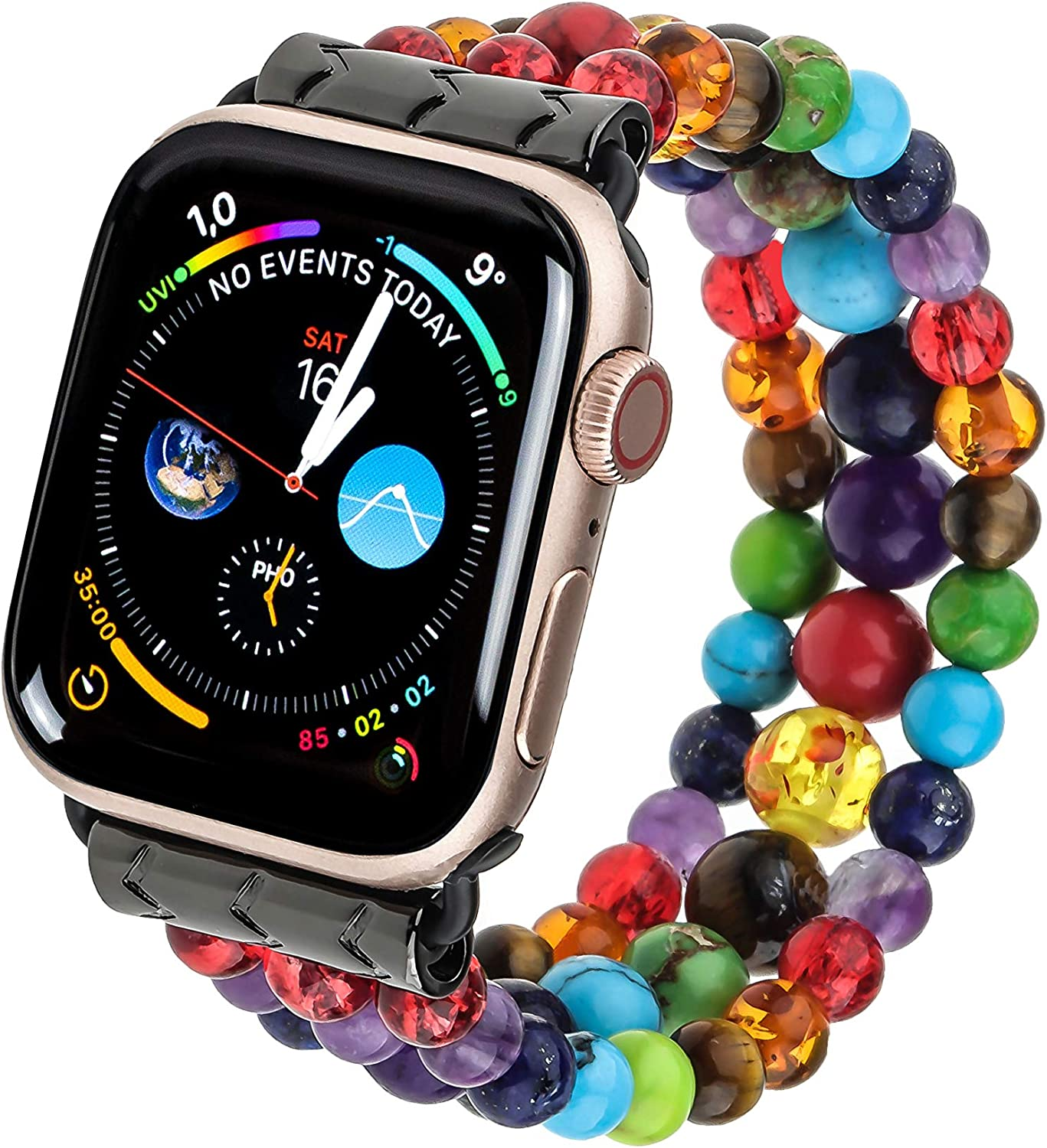 PLTGOOD Beads Bracelet Apple Watch Band 38mm/40mm, 42mm/44mm Watch Strap for Women Men - Apple iWatch Series 5/4/3/2/1