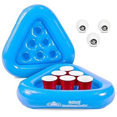 GoPong Pool Pong Rack Floating Beer Pong Set, Includes 2 Rafts and 3 Pong Balls, Blue: Sports & Outdoors