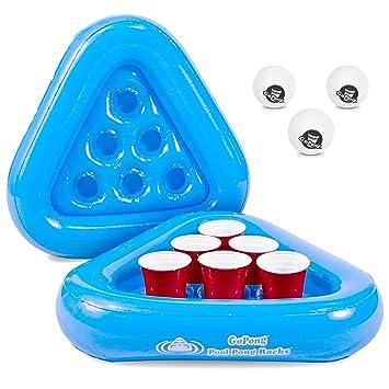 GoPong Pool Pong Rack Floating Beer Pong Set, Includes 2 Rafts and ...
