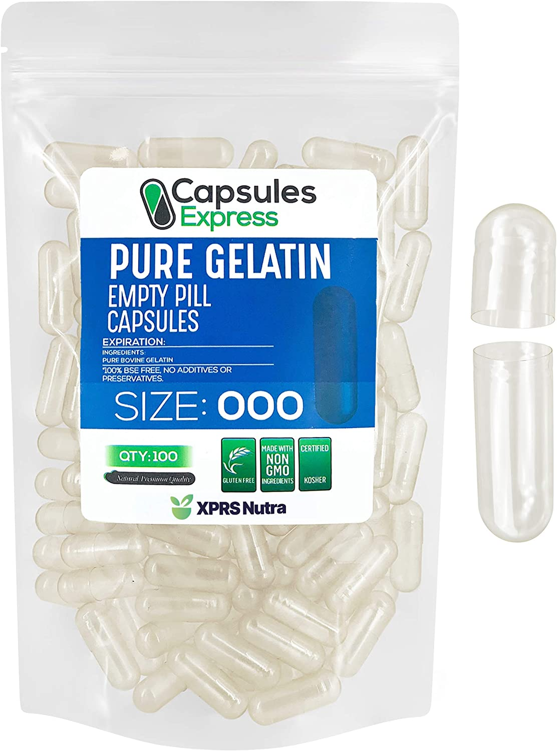 Capsules Express- Size 000 Clear Empty Gelatin Capsules 100 Count - Kosher and Halal - Pure Gelatin Pill Capsule - DIY Powder Filling
