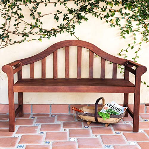 Teal Island Designs Concorde 53″ Wide Dark Natural Acacia Wood Outdoor Bench