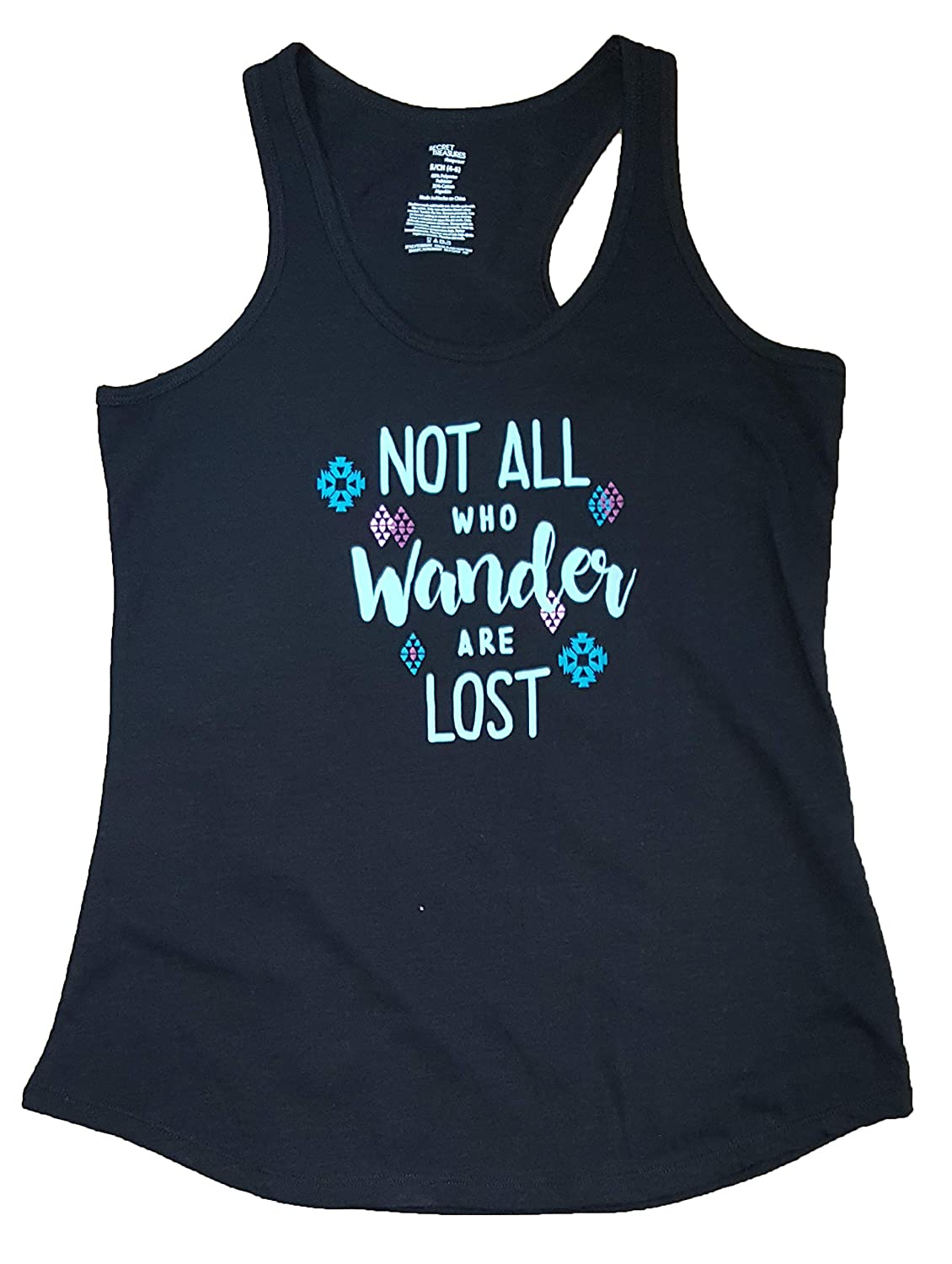 Secret Treasures Not All Who Wander are Lost Black Knit Sleep Tank Top
