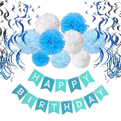 Recosis Bandiera Buon Compleanno Striscione Con Decorazioni Ricciolo E Pon Pons Fiori Di Carta Per La Festa Di Compleanno Azzurro Blu E Bianco