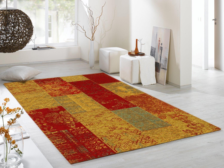 DALLIANCE ALLOVER Vintage Patchwork Velour Teppich in multicolor, Größe  160x230 cm