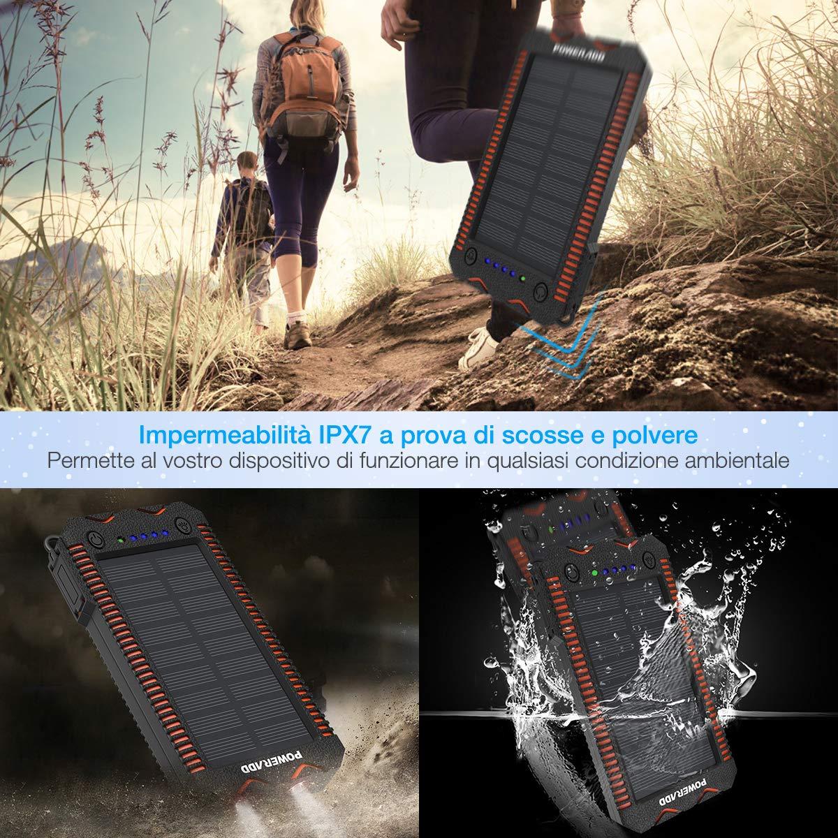 Poweradd Powerbank Solare Apollo 2 Caricabatteria Portatile Batteria Esterna Con Pannello Solare iPhone, iPad, Smartphone e Tablet,12000mah con 2 Luci LED, Doppia uscita USB, Accendisigari integrato