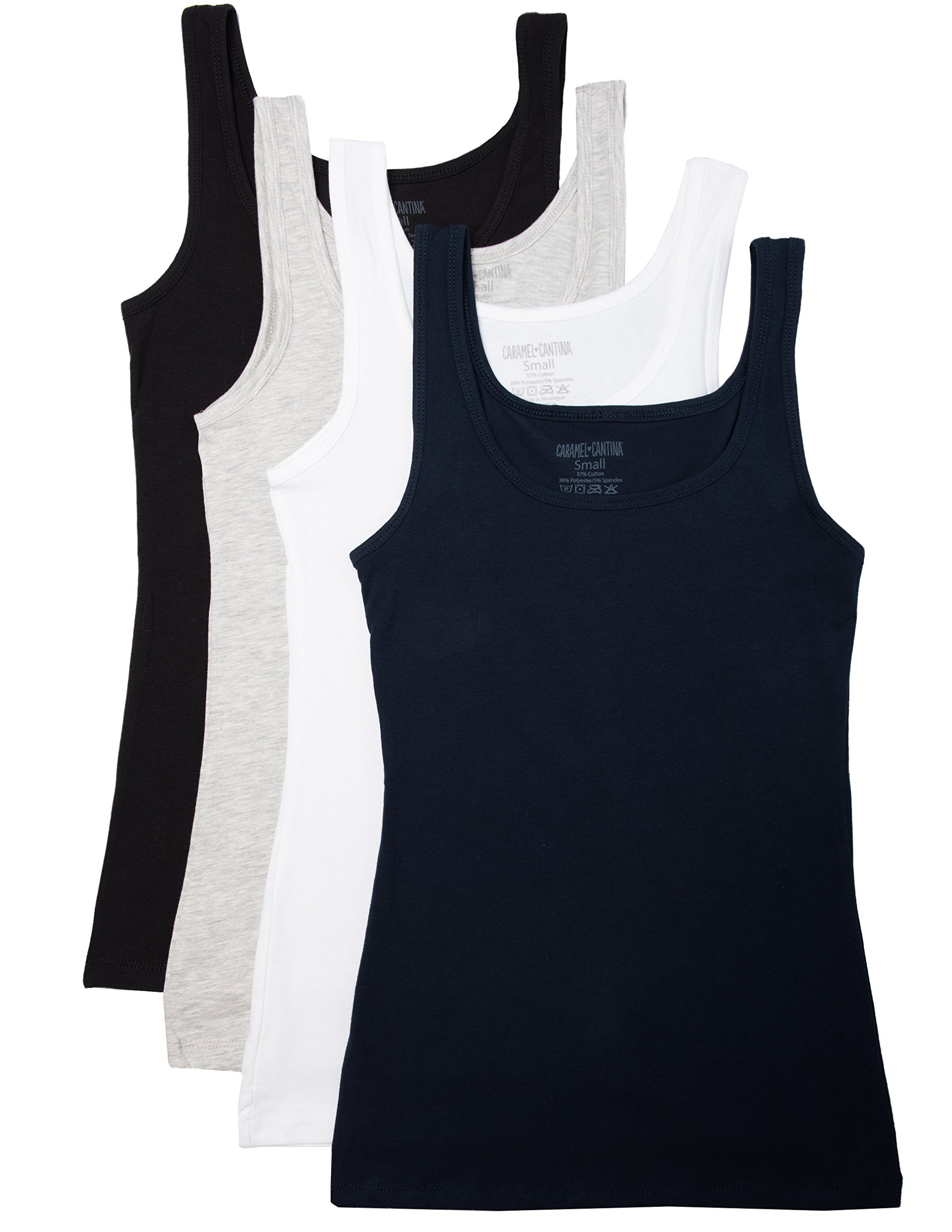 Caramel Cantina 4 Pack Junior's Skinny Tank Top (Medium, Black/White/Navy/Grey)