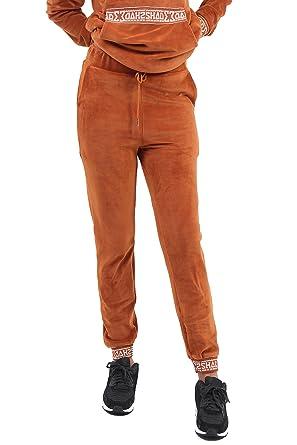 SHADE London Rust Brown Velour Velvet Logo Banding Tracksuit Bottoms  Joggers Multiple (M  6d6befc30033