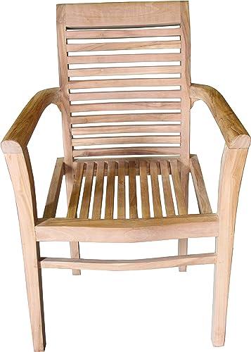 ALA TEAK Wood Indoor Outdoor Patio Garden Yard Stackable Arm Chair Set Seat Teak 2 Chairs