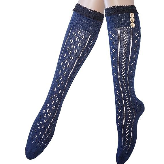 Mujeres rodilla calcetines altos con encaje de algodón y botones (1 ...