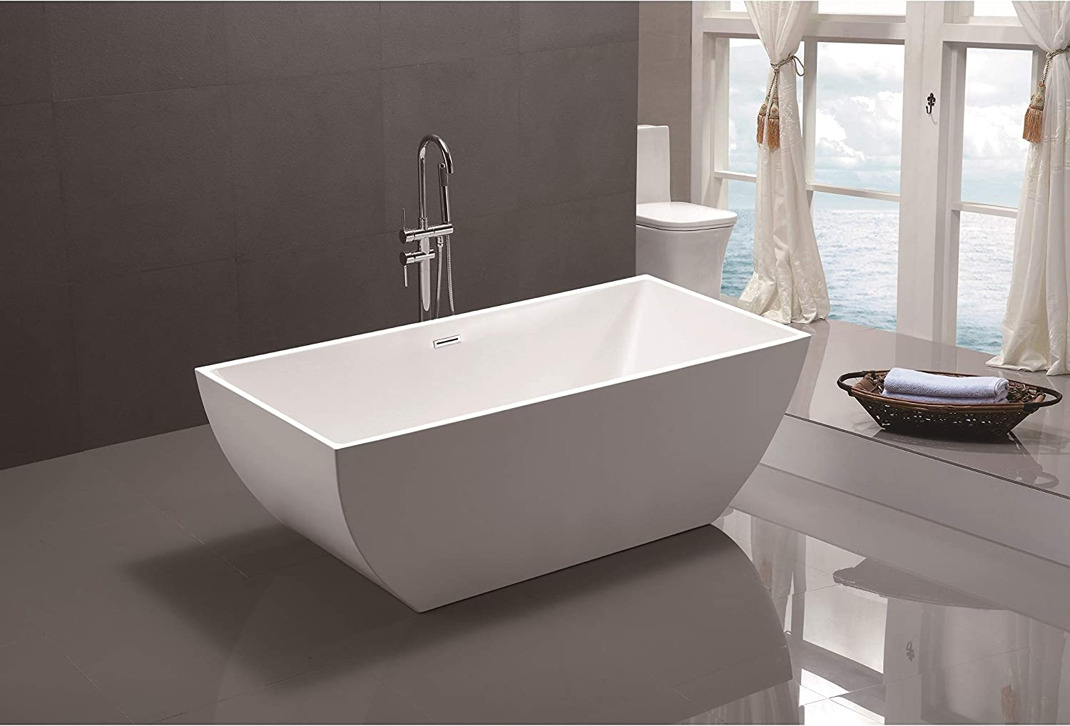 Vanity Art 59 Inch Freestanding Acrylic Bathtub Modern Stand Alone Soaking Tub with Chrome Finish, UPC Certified, Slotted Overflow Pop-up Drain – VA6821-S