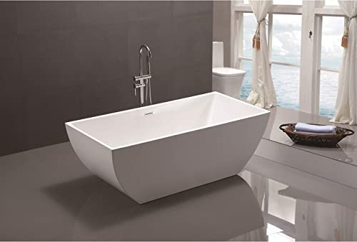 MAYKKE Barnet 61 Acrylic Bathtub Retains Heat White Modern Oval Freestanding Comfortable Soaking Tub in Bathroom Lavatory, Shower cUPC certified, Drain Overflow Assembly Included XDA1407001