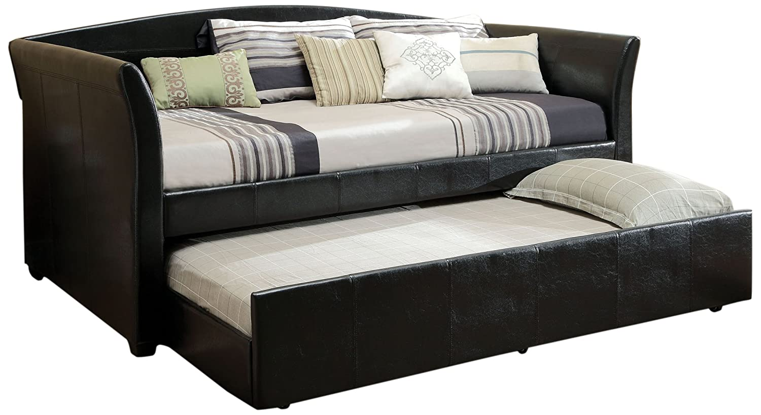 Amazon.com: Furniture of America Elliss Leatherette Upholstered Daybed with Twin  Trundle, Black: Kitchen & Dining - Amazon.com: Furniture Of America Elliss Leatherette Upholstered