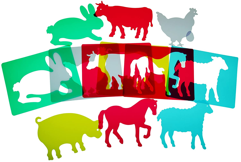 material caja de luz - figuras animales granja