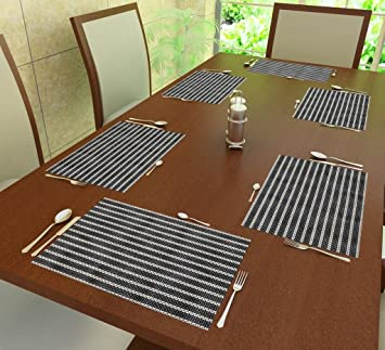 Home Candy Polyester 6-Piece Placemat Set - Grey Place Mats at amazon