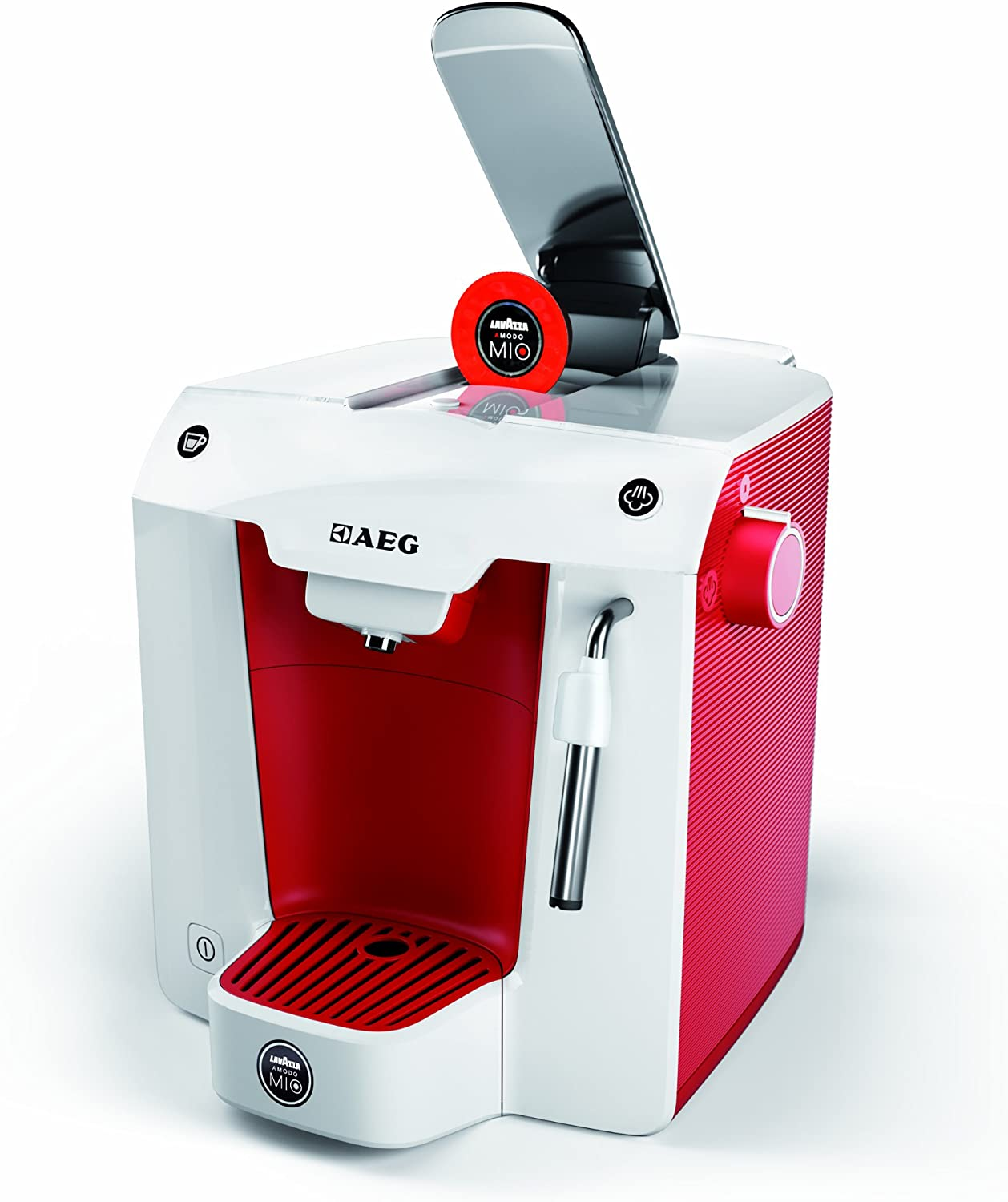 AEG A Modo Mio Favola Lavazza Espresso Coffee Machine, 0.9 Litre, 1300 Watt, Love Red/ Ice White: Amazon.es: Hogar