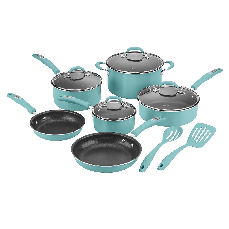 Amazon.com: Cuisinart 57T-12TQ Non-Stick Cookware Set, Turquoise (12 ...