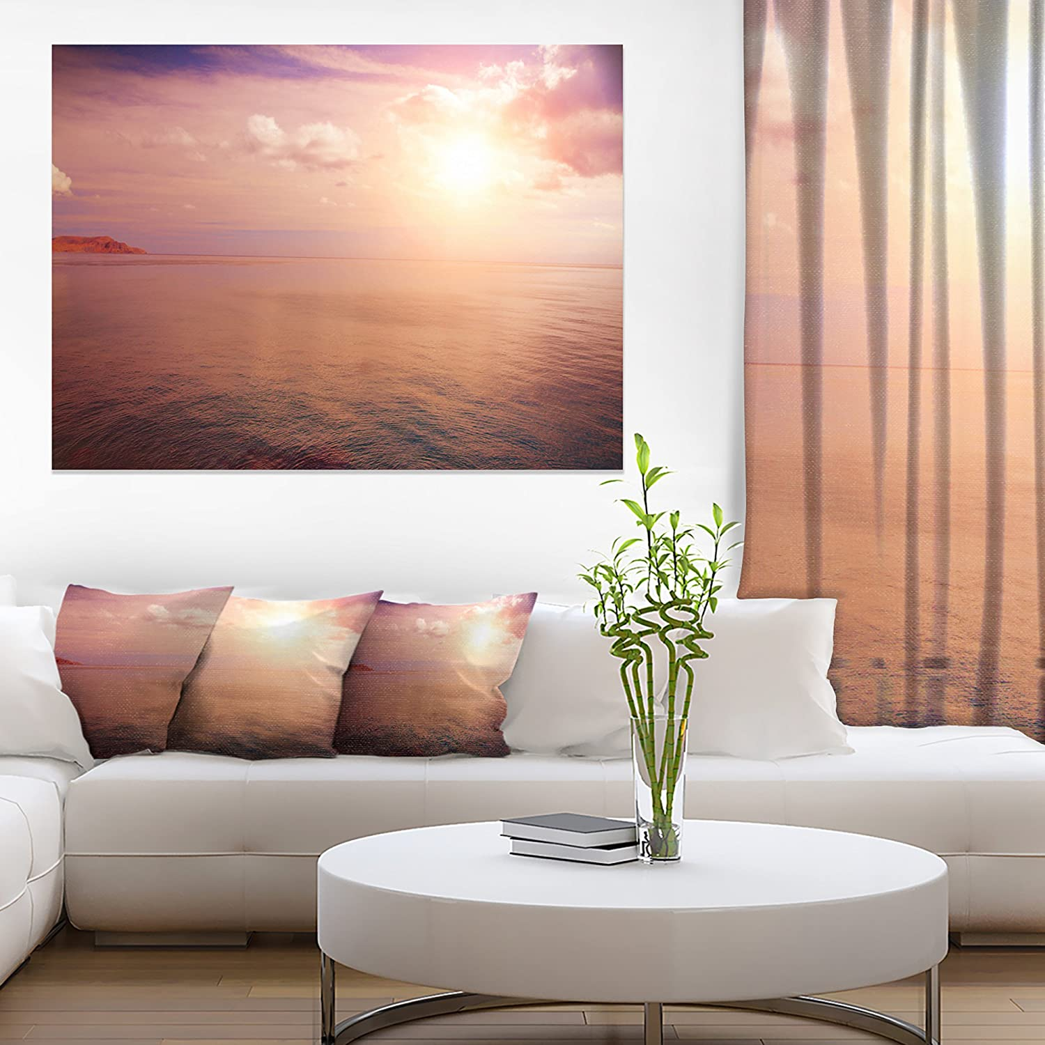 Design Art Pink Sky Over Dark Beach At Sunset Large Seashore Canvas Print 20x12 Red Posters Prints