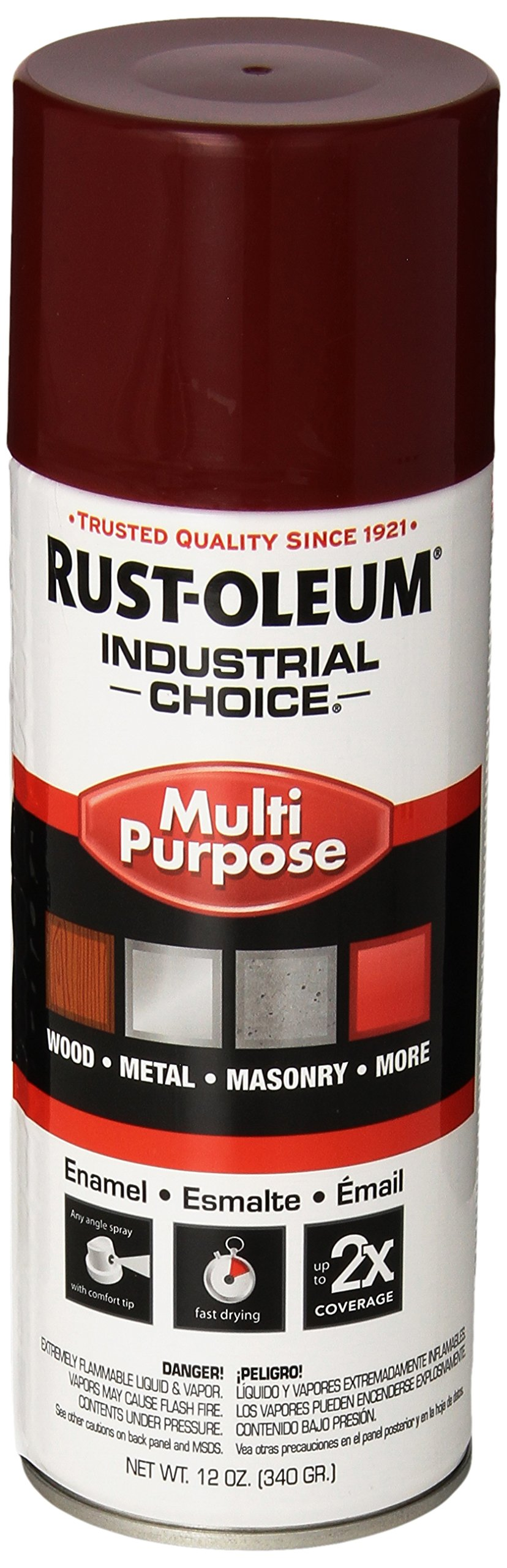 Rust-Oleum 1664830 Cherry Red 1600 System General Purpose Enamel Spray Paint, 16 fl. oz. container, 12 oz. weight fill, Can (Pack of 6)