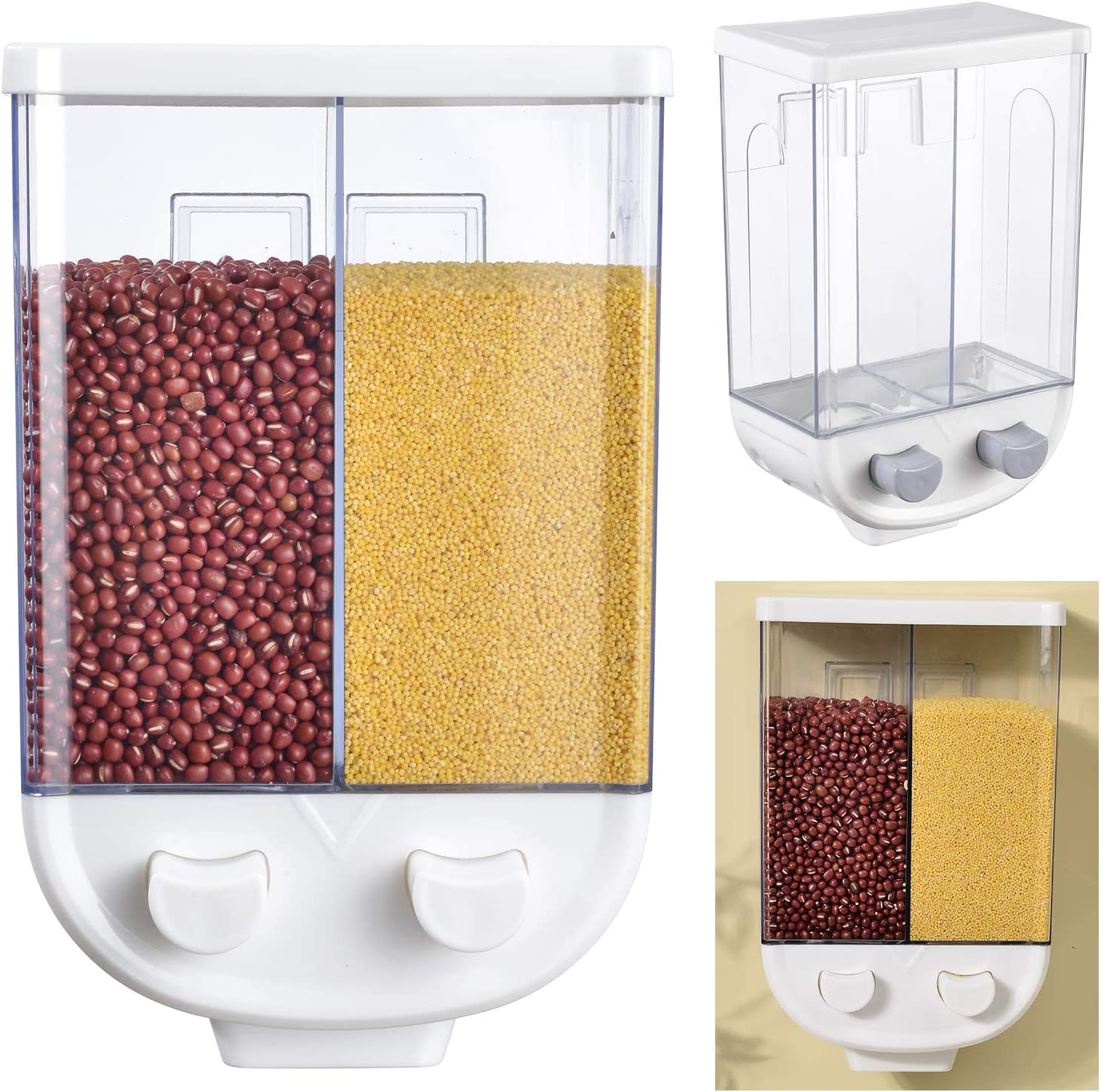 Wall Mounted Dry Food Dispenser - 2-Grid Storage Kitchen Food Dry Food Dispenser, Whole Grains Rice Bucket Wall-Mounted Rice Storage Tank For Home and Kitchen