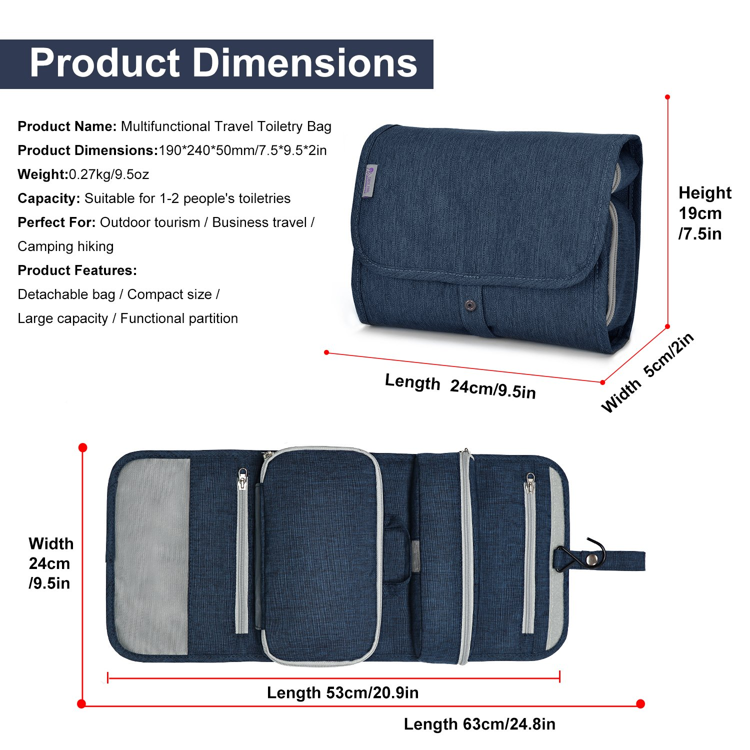 Mountaintop Hanging Travel Toiletry Bag, 7.1 x 2.4 x 9.3-Inch For Men & Women by Mountaintop (Image #3)