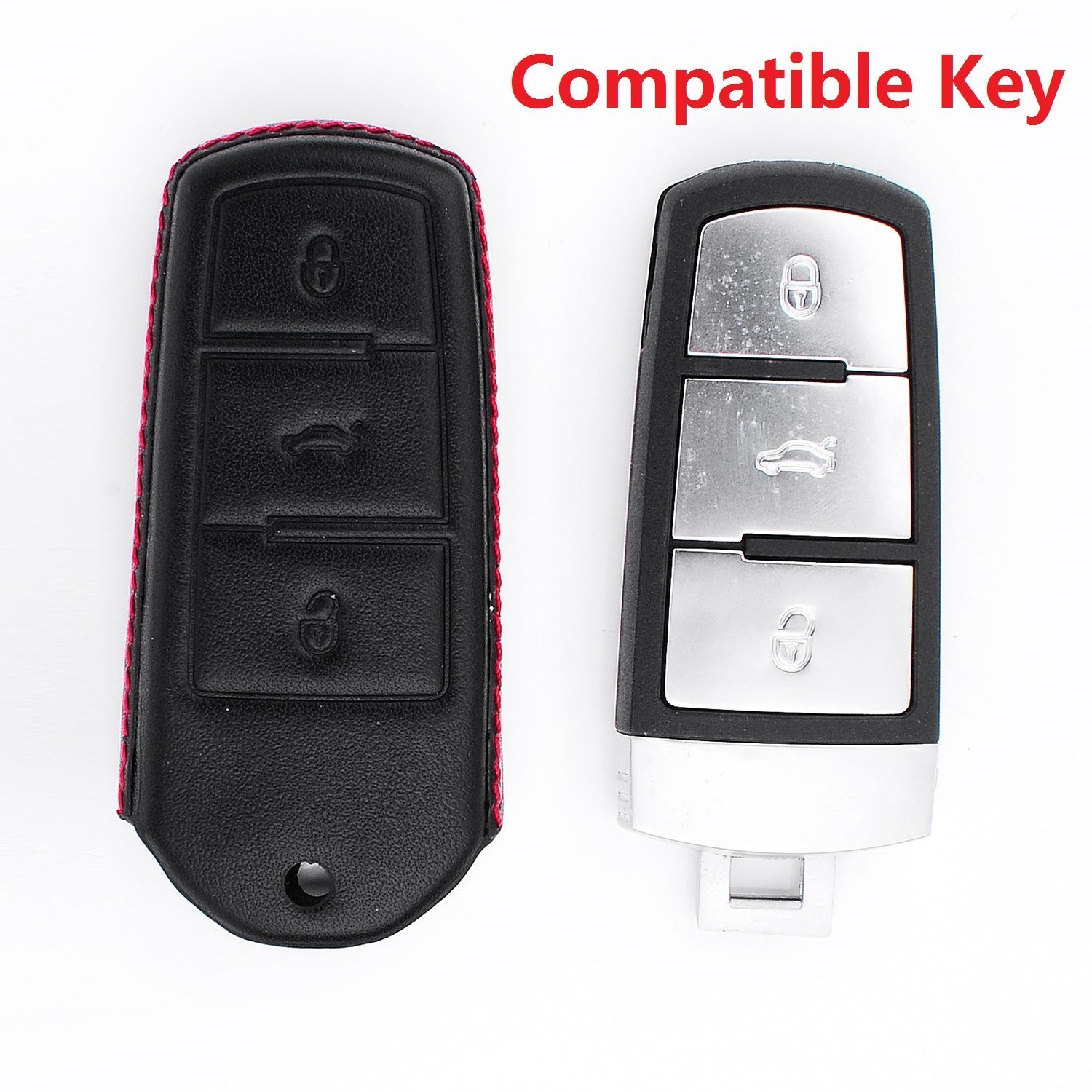 Car Remote Key Pouch Bag Key Rings Kit Keychain Black RoyalFox Genuine 3 Buttons Leather Smart Key Fob case Cover for VW Volkswagen CC Magotan Key
