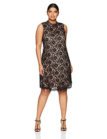 e946d5c490 T I A N A B. Women s Plus Size Mock Neck A-line Dress at Amazon Women s  Clothing store