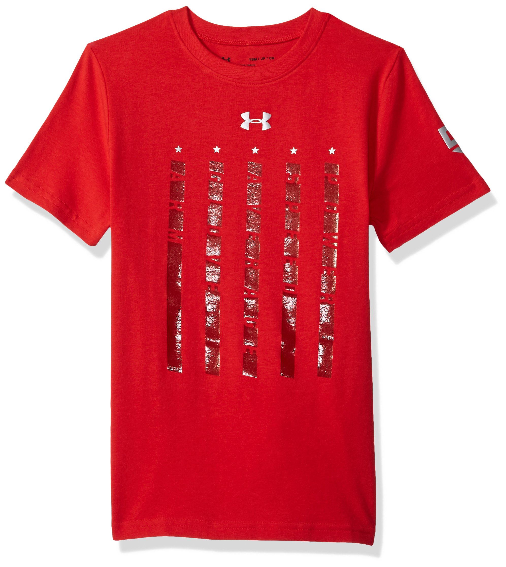 Under Armour Boys' Heater 5 Star T-Shirt,Red (600)/Metallic Silver, Youth Small