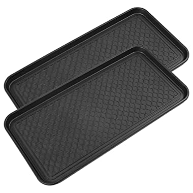 Multi-Purpose Boot Mat Tray, 30  x 15  x 1.2  Black Boot Mat Tray, Indoor & Outdoor Boot and Shoe Tray, Boot Drying Mat w/ Lip, Dog Water Mat & Litter Box [2 Pack] Tray
