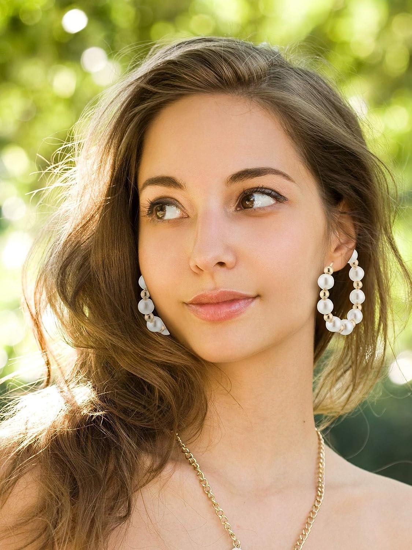 3 Paires Boucles dOreilles de Perles Cadeau de Boucles dOreilles Pendantes de Perle pour Cadeau de Mari/ée de Femmes